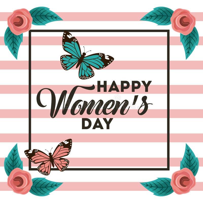 Internationella kort för hälsning för lycklig kvinnors för affisch marsch för dag 8 blom- royaltyfri illustrationer