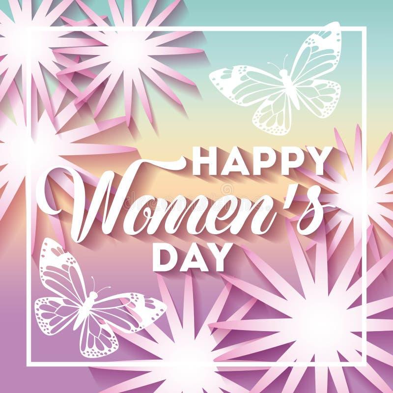 Internationella kort för hälsning för lycklig kvinnors för affisch marsch för dag 8 blom- stock illustrationer