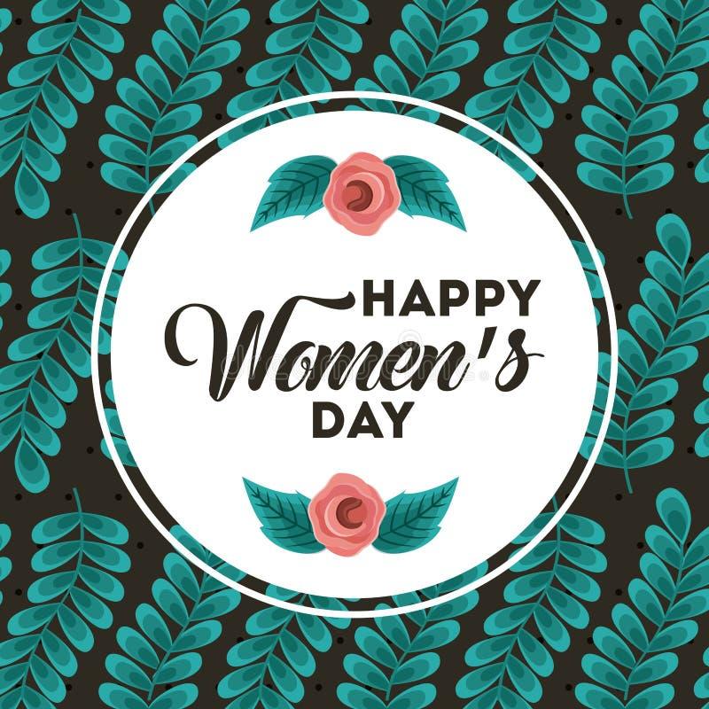 Internationella kort för hälsning för lycklig kvinnors för affisch marsch för dag 8 blom- vektor illustrationer