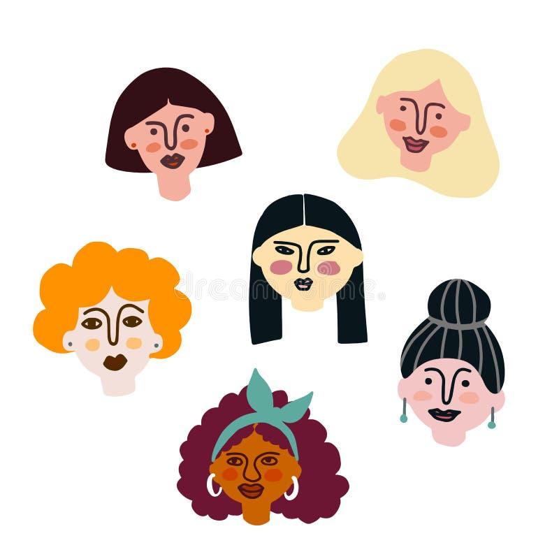 Internationella kvinnor och mellan skilda raser framsidor Flickamakt royaltyfri illustrationer