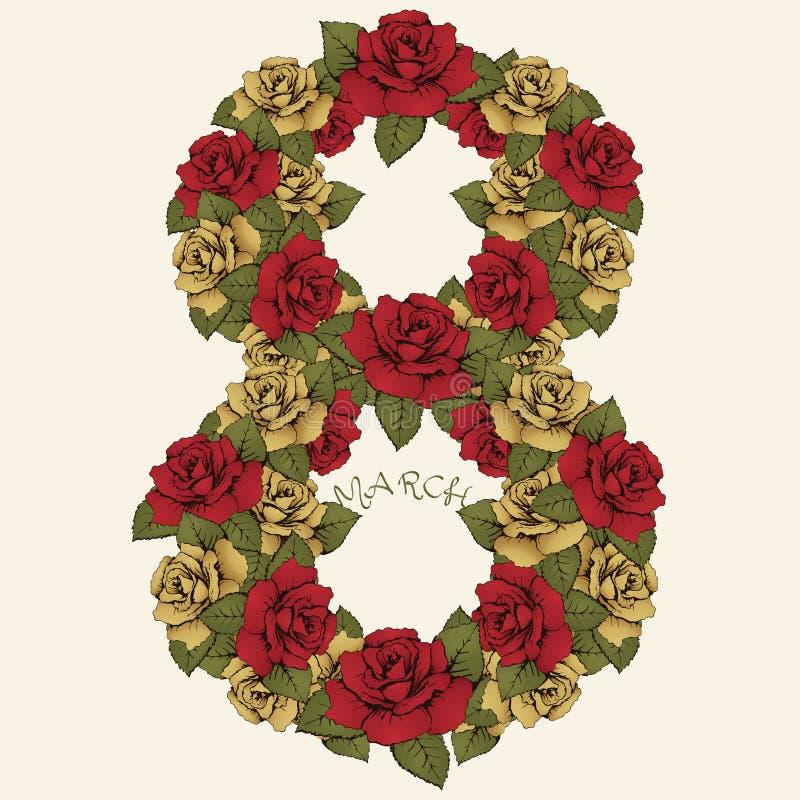 8 internationella kvinnors för mars dag, blommadiagram Numret av röda och gula rosebuds och sidor Utsmyckat blom- stock illustrationer