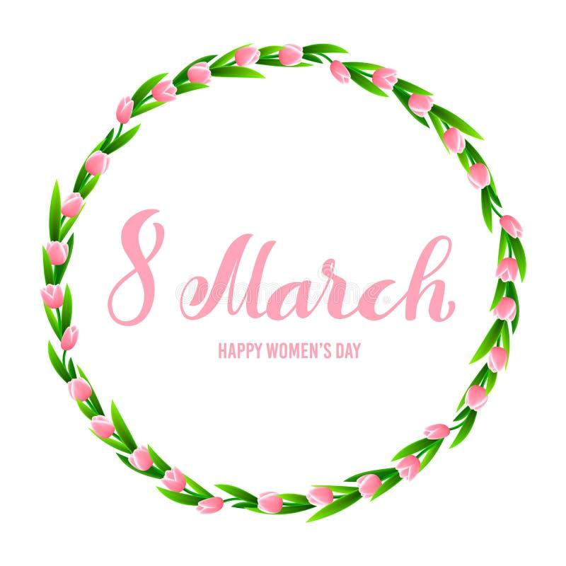 8 internationella kvinnors för mars kort för hälsning för dag Mallaffisch med handdrawn kalligrafi vektor vektor illustrationer