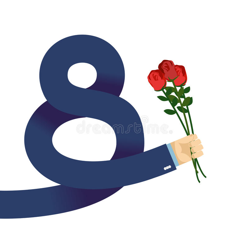 8 internationella kvinnors för marsch dag Manhanden i omslag ger rosor vektor illustrationer