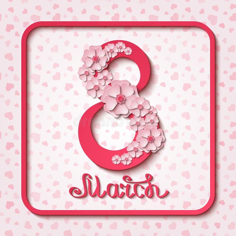 Internationella kvinnors för vektor8 marsch kort för hälsning för dag rosa med blommor och skriftliga bokstäver för hand stock illustrationer