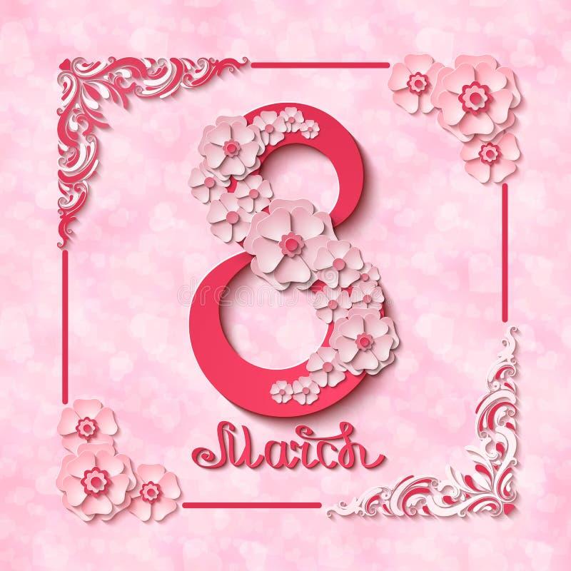 Internationella kvinnors för vektor8 marsch kort för hälsning för dag rosa med blommor och skriftliga bokstäver för hand royaltyfri illustrationer