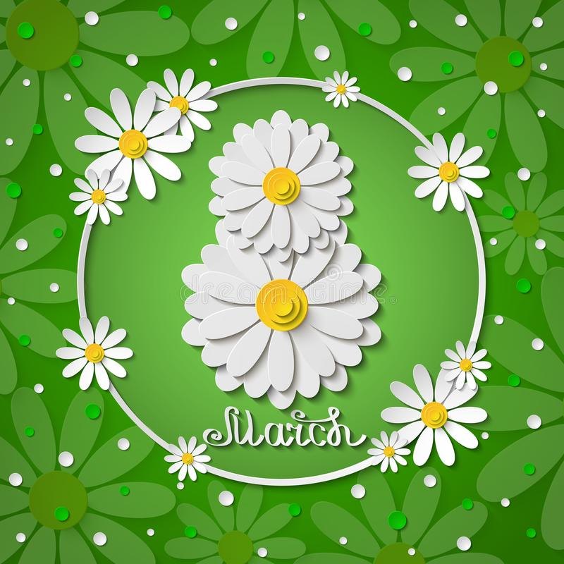 Internationella kvinnors för vektor8 marsch kort för hälsning för gräsplan för dag med kamomillar stock illustrationer