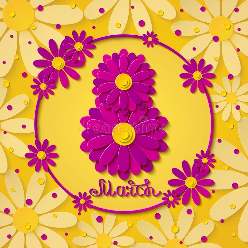 Internationella kvinnors för vektor8 marsch kort för hälsning för guling för dag med rosa blommor royaltyfri illustrationer