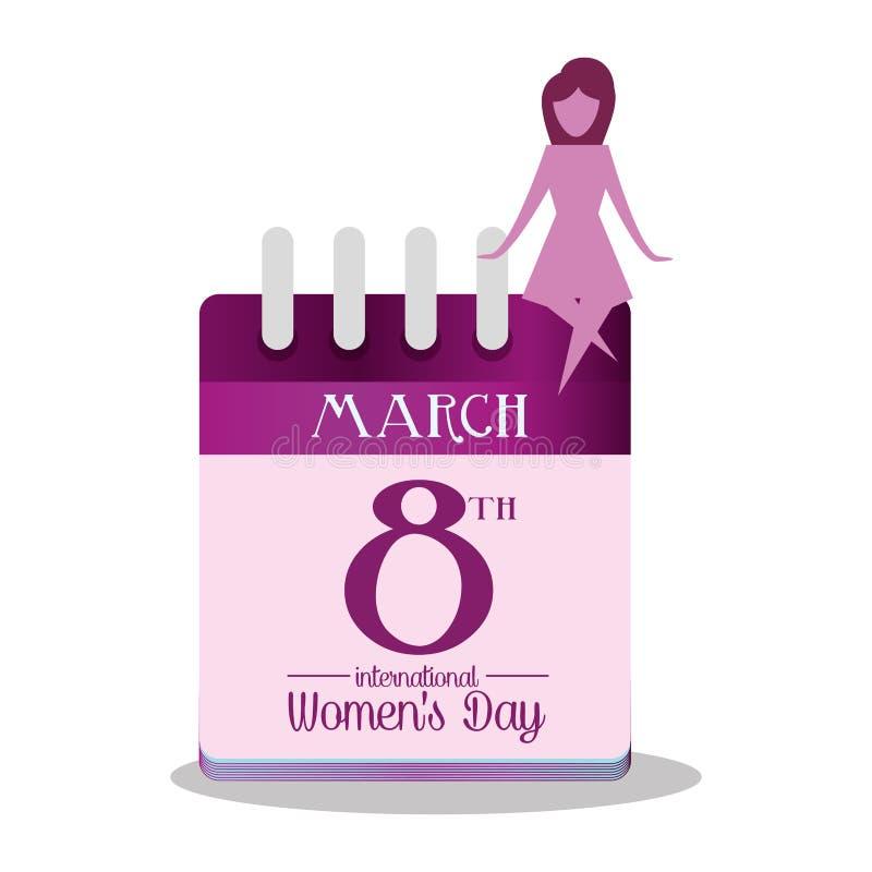 internationella kvinnors flicka för marsch för dagkalender vektor illustrationer