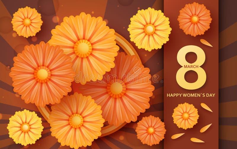 Internationella kvinnors kort för daghälsning 8 mall för mars med tusenskönan royaltyfri illustrationer
