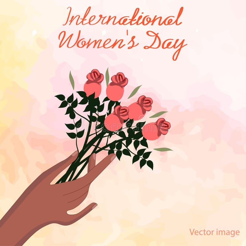 Internationella kvinnors kort för daghälsning med en bukett av blommabilden stock illustrationer