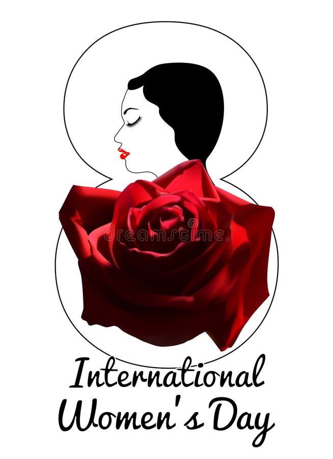 Internationella kvinnors mall för kort för daghälsning med unga flickan och den röda rosen stående av en flicka med vit hud royaltyfri illustrationer