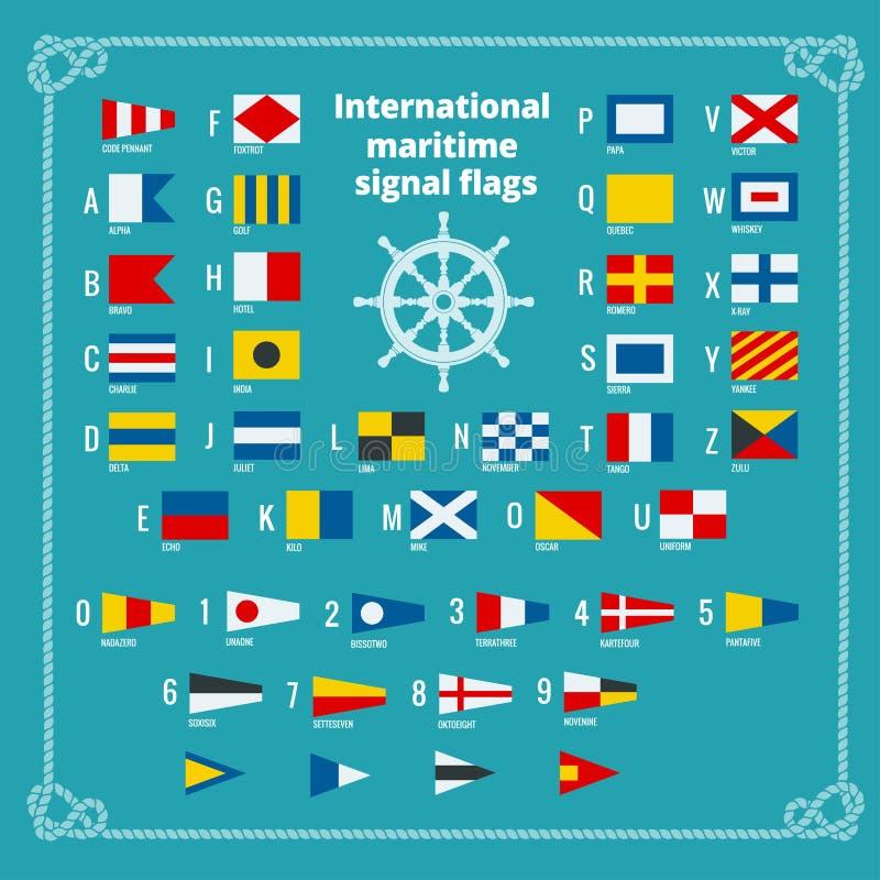 Internationella maritima signalflaggor Havsalfabet Plan vektorillustration royaltyfri illustrationer