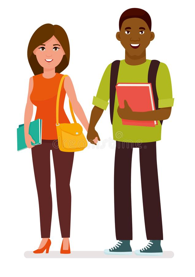 Internationella par av studenter med böcker och skolapåsar i en vit bakgrund Illustration för tecknad filmvektortecken stock illustrationer
