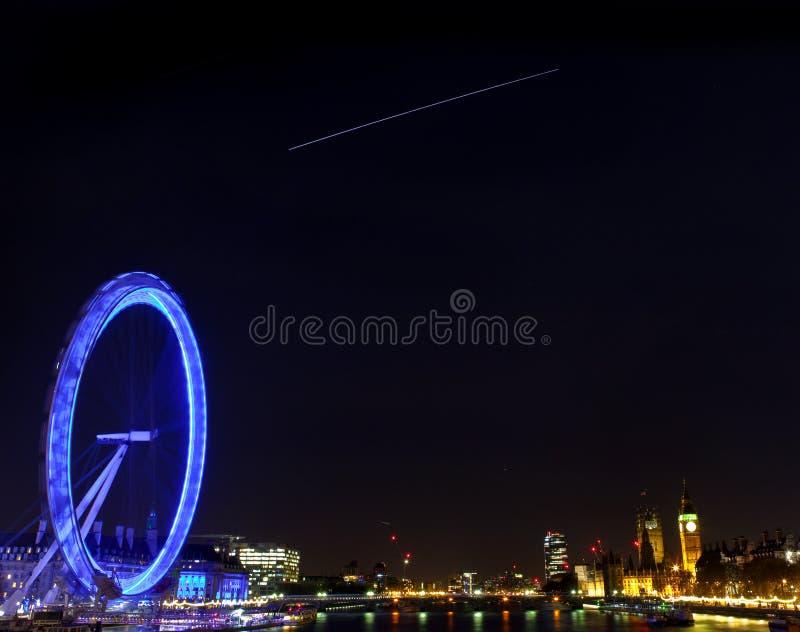 Internationella rymdstationen över London arkivfoton