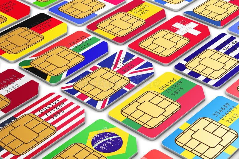 Internationella SIM-kort med flaggor vektor illustrationer