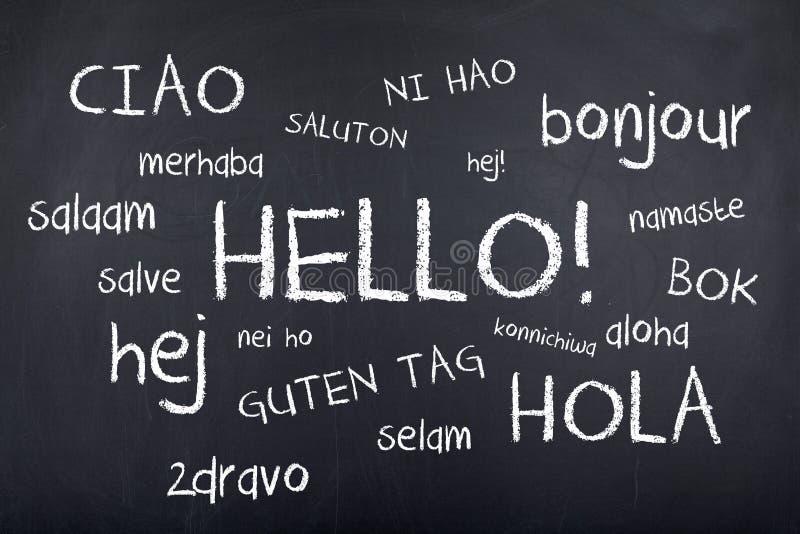 Internationella språk Hello royaltyfri bild