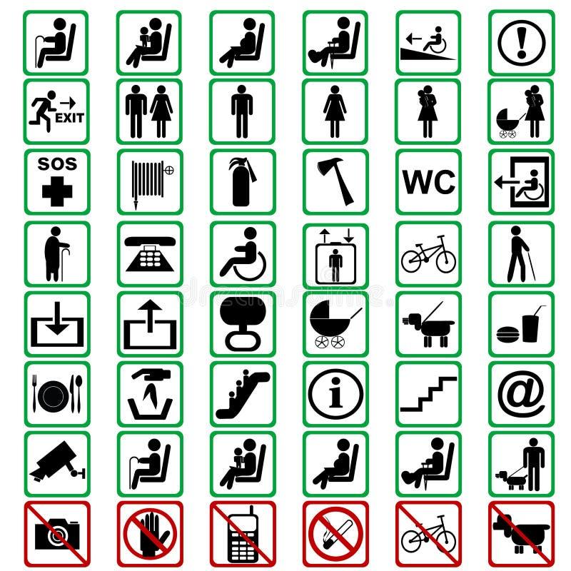Internationella tecken som används i tranportation, betyder stock illustrationer