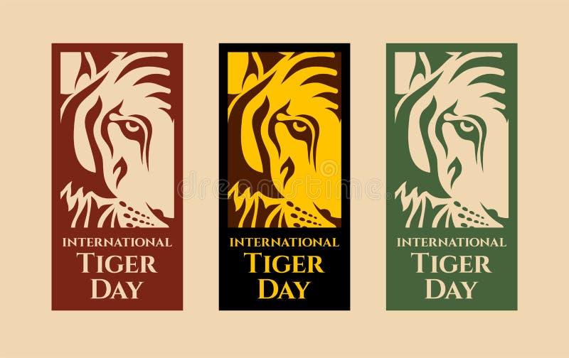 Internationella Tiger Day vektor illustrationer