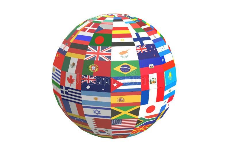 Internationella världsflaggor för jordklot, tolkning 3D stock illustrationer