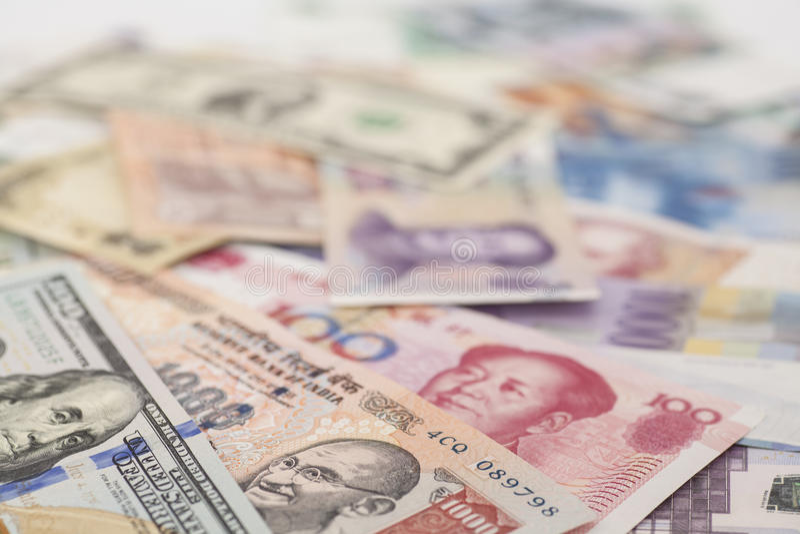 internationella valutor arkivfoto