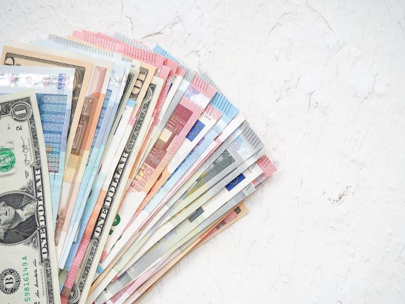 Internationella valutor, bakgrund av pengar för affär royaltyfri bild