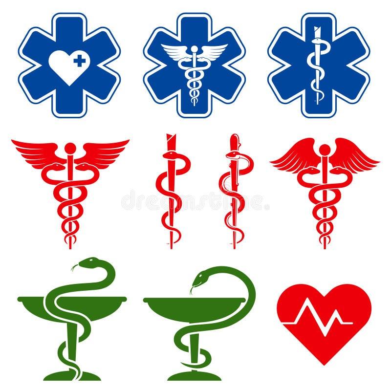 Internationella vektorsymboler för läkarundersökning, för apotek och för nöd- omsorg vektor illustrationer