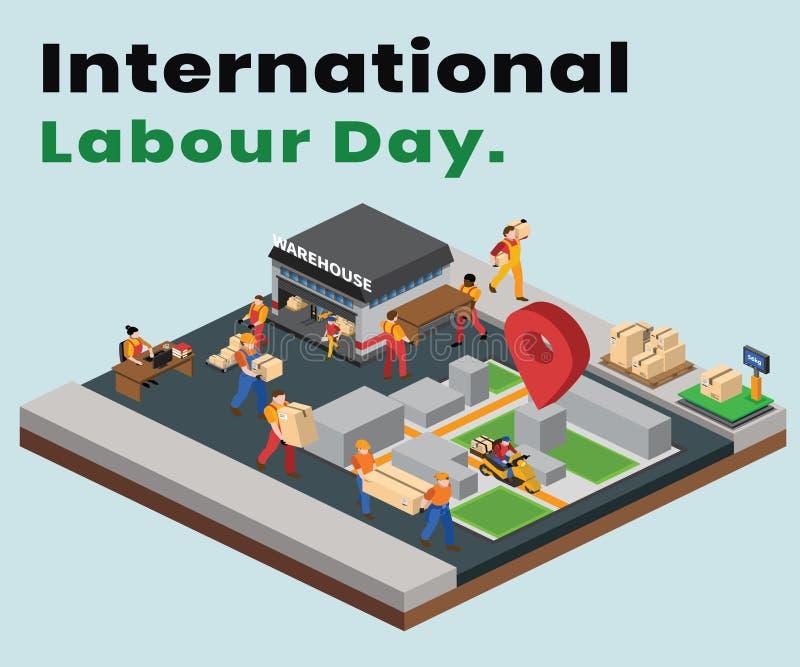Internationellt arbeta dagen var sändningsen och leveransen vars det gjorda isometriska konstverkbegreppet stock illustrationer