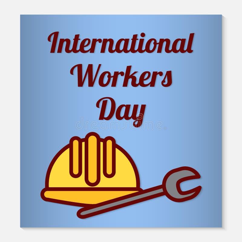 Internationellt kort eller baner för arbetardaghälsning Plana symboler är en skyddande hjälm och en skiftnyckel som feriesymboler arkivbild