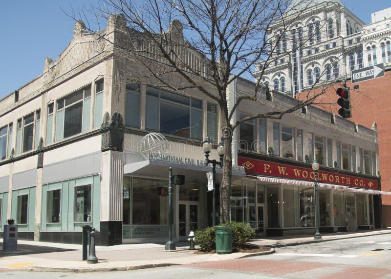 Internationellt medborgerlig rättighetmitt och museum i Greensboro, North Carolina royaltyfria bilder