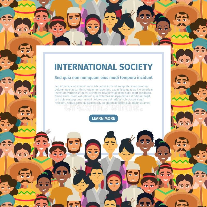 Internationellt samfund med kvinnligt olikt mångkulturellt folk som är manligt och din vektor för text för bakgrundsillustrations royaltyfri illustrationer