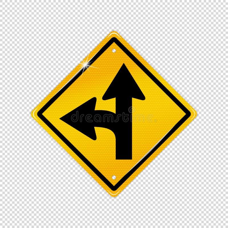 Internationellt splittringsymbol för vänster vänd - texturerad gul varnande symbol - vektorillustration som isoleras på genomskin royaltyfri illustrationer