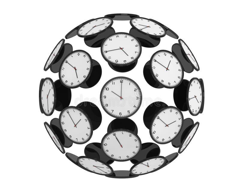Internationellt tidszonbegrepp Moderna klockor som sfär vektor illustrationer