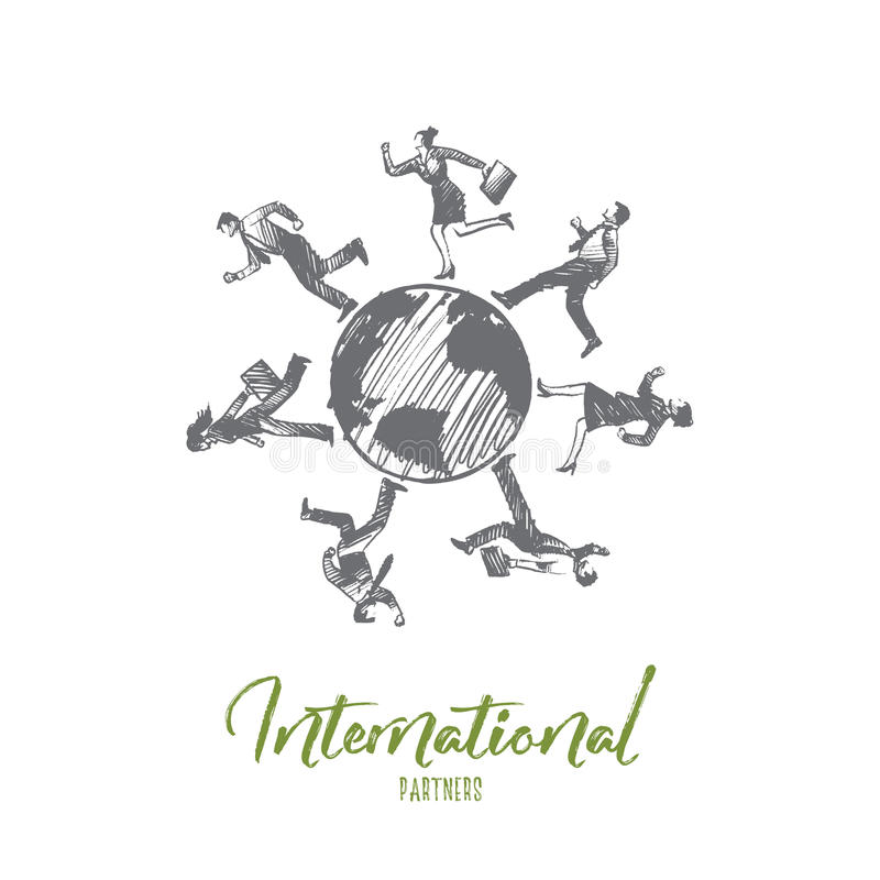 Internationl partners concept. Hand drawn isolated vector. Internationl partners concept. Hand drawn businessmen all over the world. Business partners isolated stock illustration