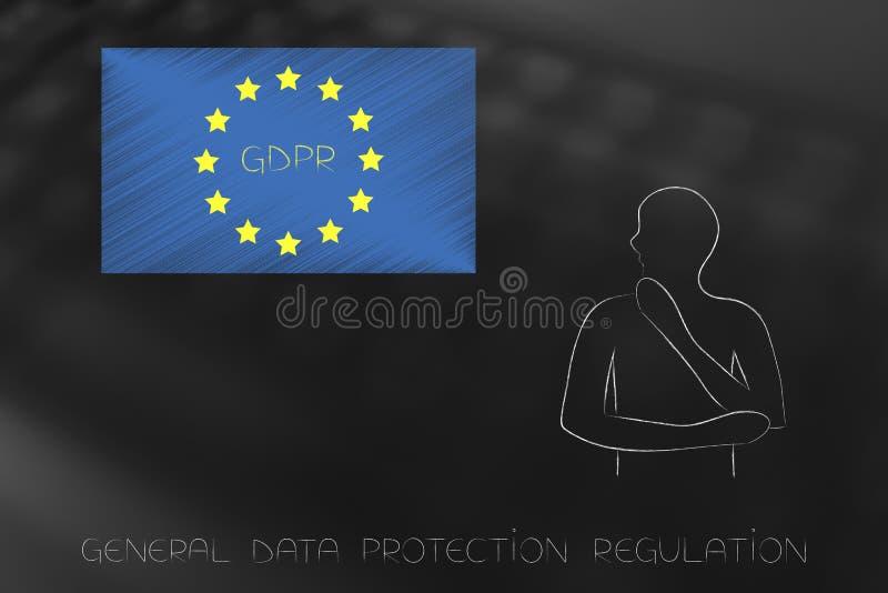 Internaute regardant fixement le drapeau de GDPR l'Europe illustration de vecteur