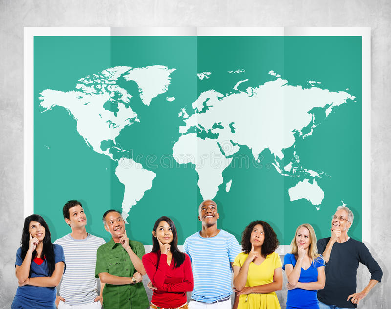 Internazionale Co di globalizzazione di cartografia di affari globali del mondo immagini stock libere da diritti