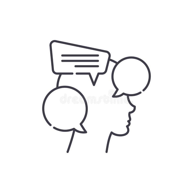 Interne Dialoglinie Ikonenkonzept Lineare Illustration des internen Dialogvektors, Symbol, Zeichen stock abbildung