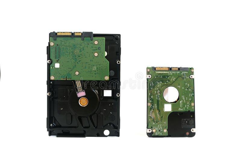 Interne die Harde schijfaandrijving twee grootte voor Desktop en Laptop computer op wit wordt geïsoleerd royalty-vrije stock foto
