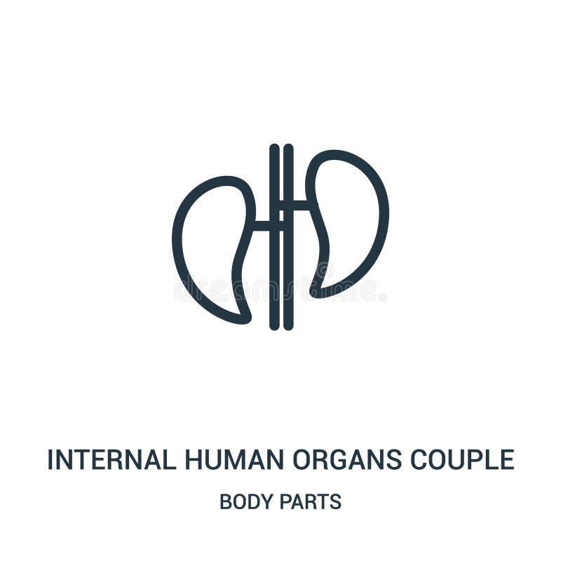 interne menselijke het pictogramvector van het organenpaar van lichaamsdeleninzameling Dunne van het het paaroverzicht van lijn i royalty-vrije illustratie