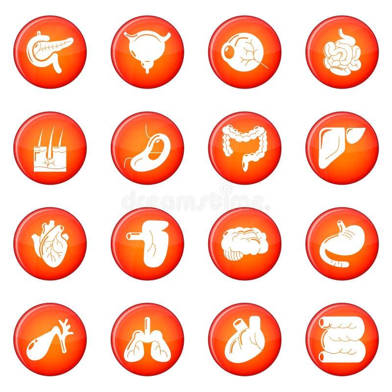 Interne menselijke organenpictogrammen geplaatst rode vector stock illustratie