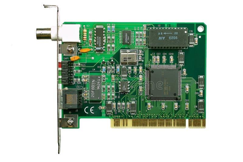 Interne modemkaart die op wit wordt geïsoleerd royalty-vrije stock afbeeldingen