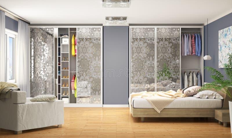 Interne moderne Garderobe für das Schlafzimmer Garderoben-Coupé vektor abbildung