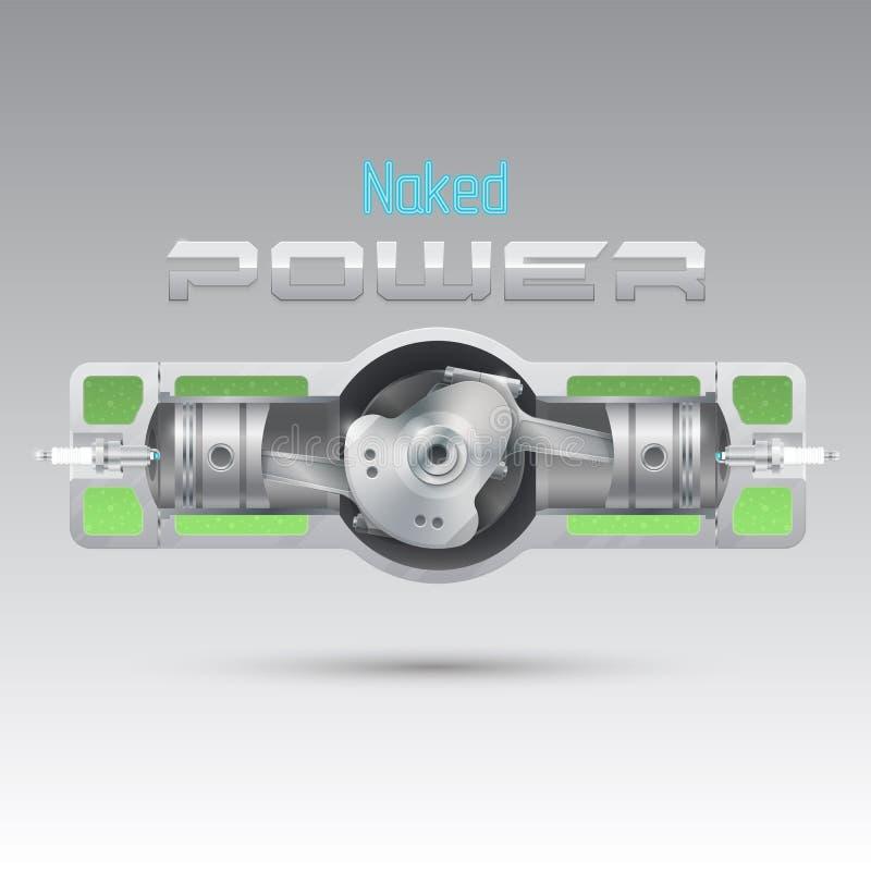Interne verbrandingsmotor van een tegenovergesteld ontwerp stock illustratie