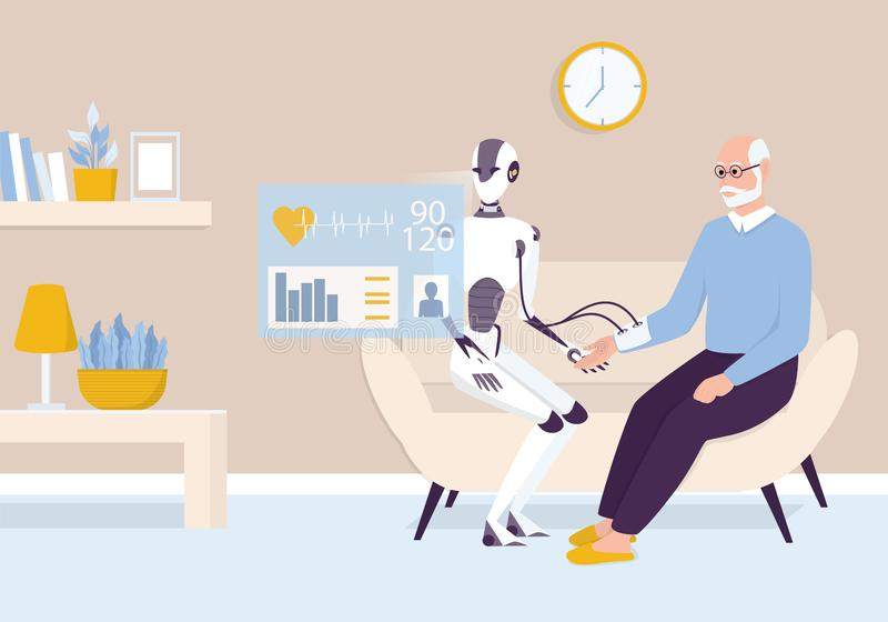 Interner persönlicher Roboter zur Unterstützung älterer Menschen lizenzfreie abbildung