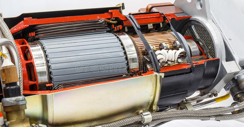 Interner Rotor der elektrischen Turbine an der Werkstatt lizenzfreie stockbilder
