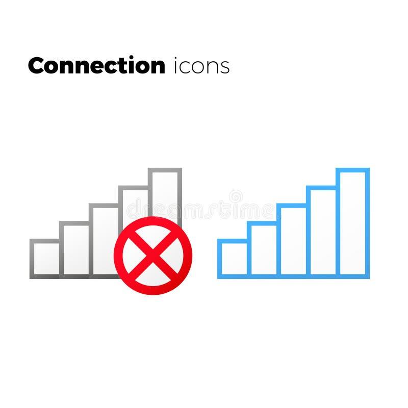 Internetåtkomstsymbolsuppsättning inget anslutningssymbol royaltyfri illustrationer