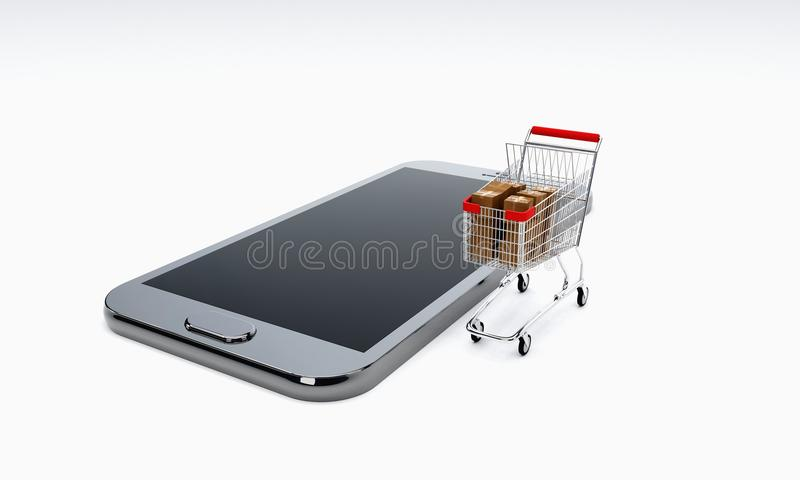 Internetów zakupy i online zakupy, 3d obraz stock
