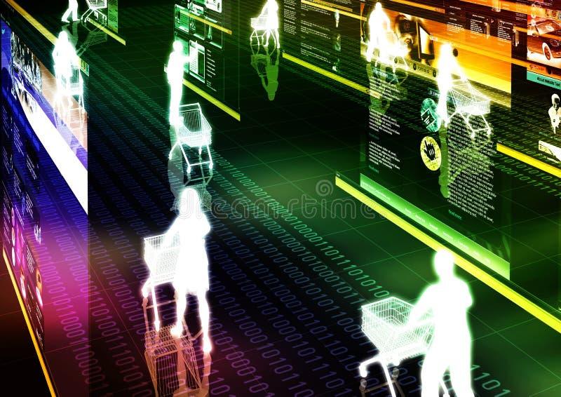 Internet 01 que hacen compras ilustración del vector