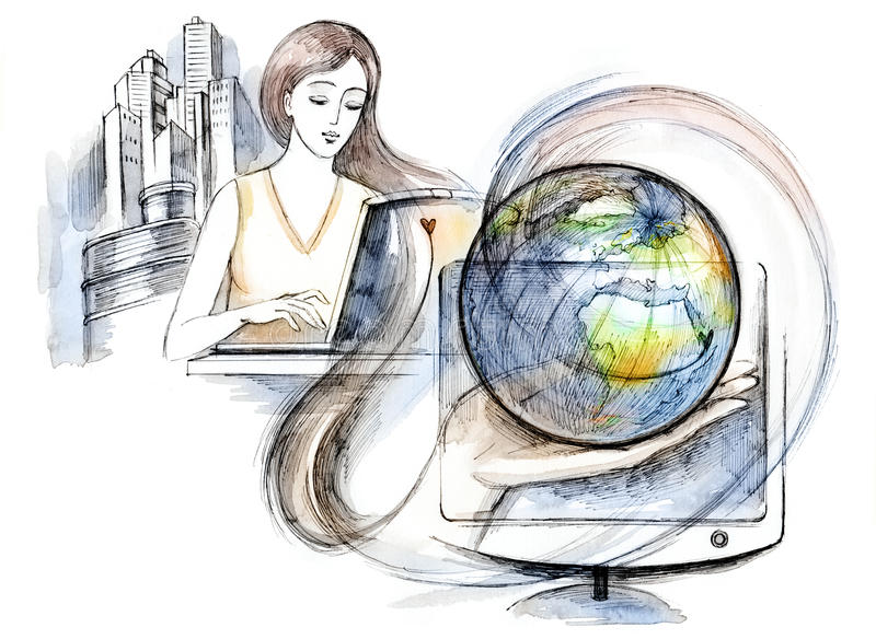 Internet. Graphic painting of woman working in internet stock illustration