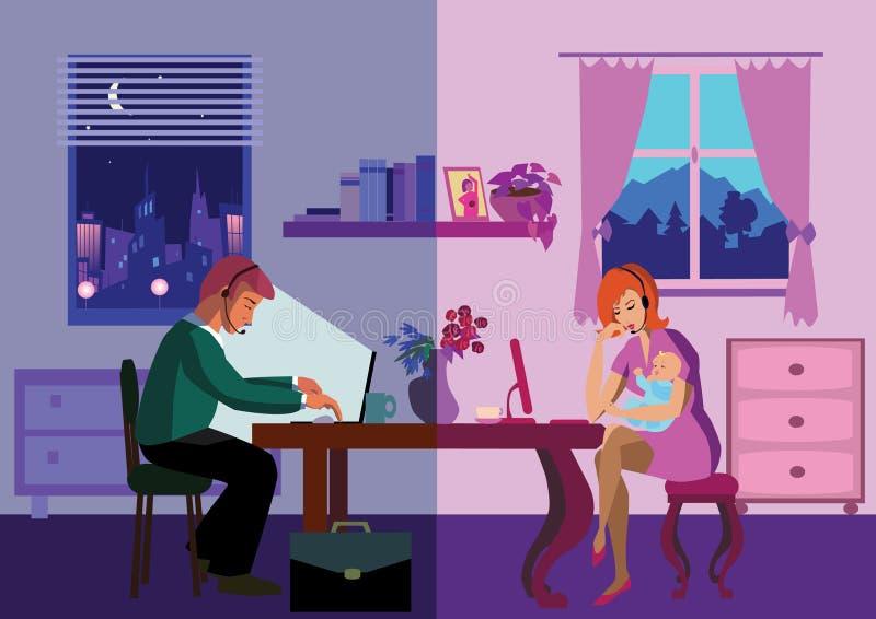 Internet. Family using headphones having conversation over internet.Vector illustration royalty free illustration