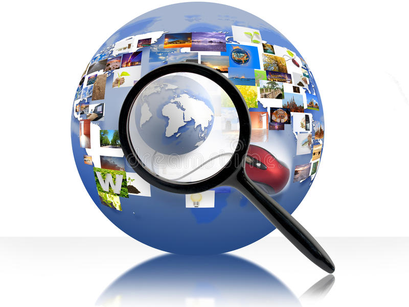 Internet. A magnifying Glass is searching the internet vector illustration